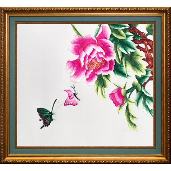 Картина вышитая шелком Диптих Весенняя рапсодия комплект из 2 ручной работы