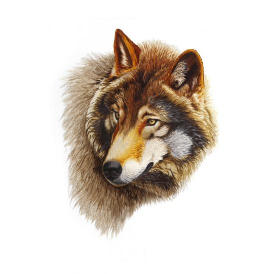 Картина вышитая шелком Голова волка ручной работы
