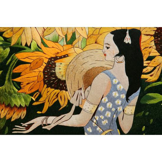 Картина вышитая шелком Девушка с подсолнухами (по Гогену) ручной работы