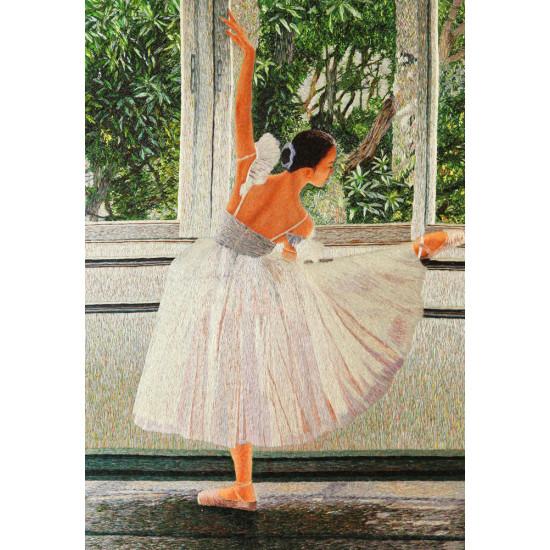 Картина вышитая шелком Балерина у окна в весенний сад ручной работы