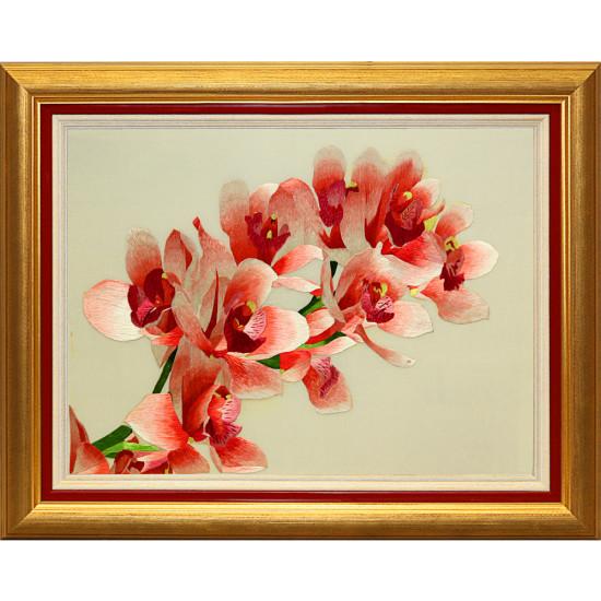 Картина вышитая шелком Ветка орхидеи ручной работы