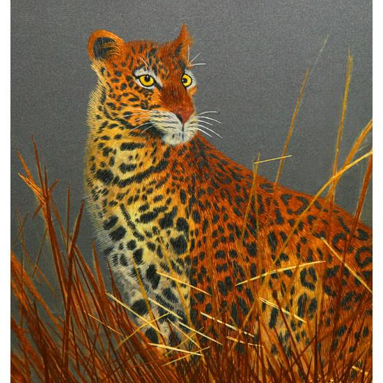 Картина вышитая шелком Леопард в камышах ручной работы