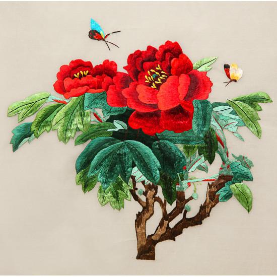 Картина вышитая шелком Пион Королева Виктория двусторонняя ручной работы