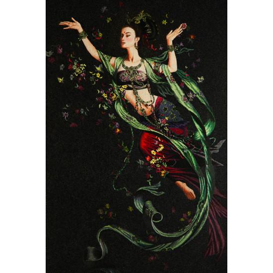 Картина вышитая шелком По Даосским легендам Богиня Фея цветов  ручной работы