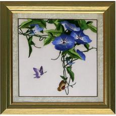 Вышивка шелком Ипомея с бабочками