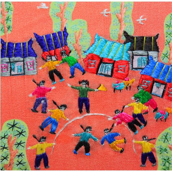 Картина вышитая шелком Детские забавы ручной работы