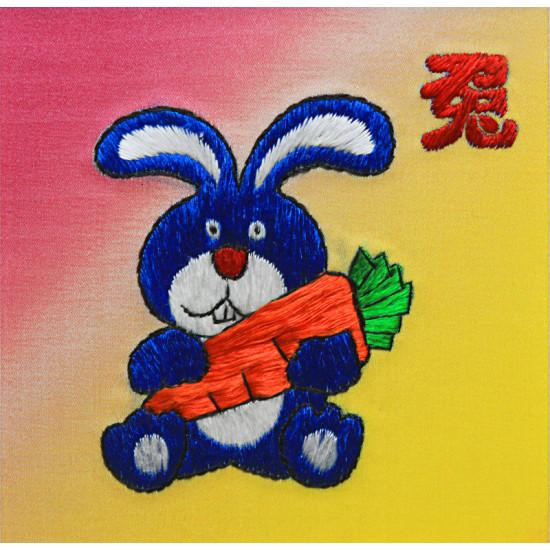 Картина вышитая шелком Кролик ручной работы