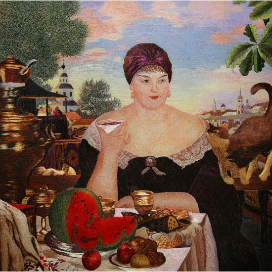 Картина вышитая шелком По Кустодиеву Купчиха за чаем  ручной работы