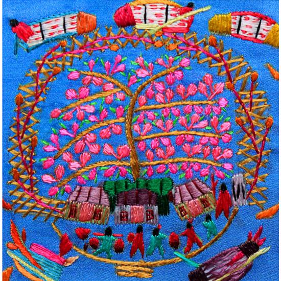 Картина вышитая гладью от Живого Шелка Весёлая карусель ручной работы