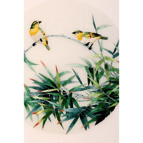 Картина вышитая шелком Двусторонняя Медовки в бамбуковой роще ручной работы
