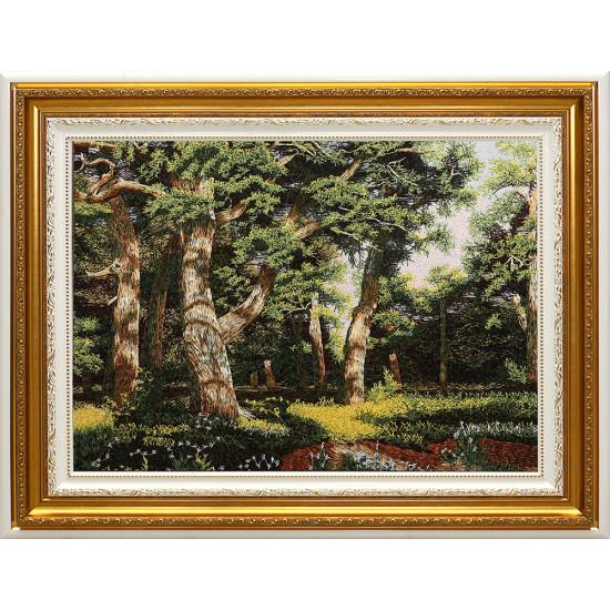 Картина вышитая шелком По мотивам Шишкина  ручной работы