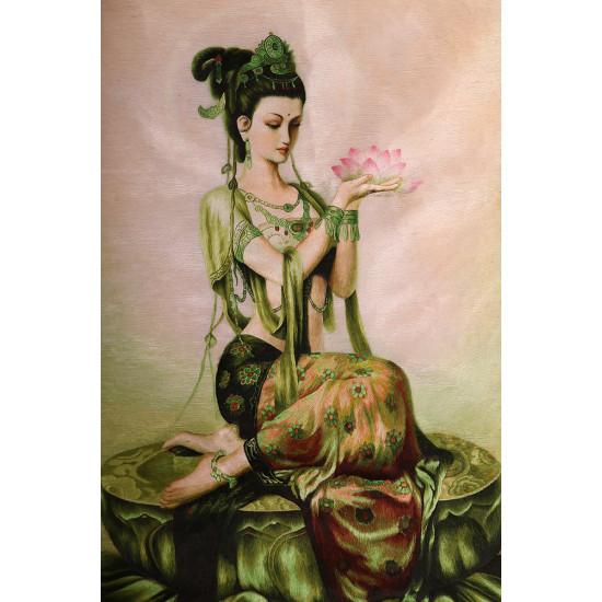 Картина вышитая шелком авторская Богиня фея лотоса ручной работы