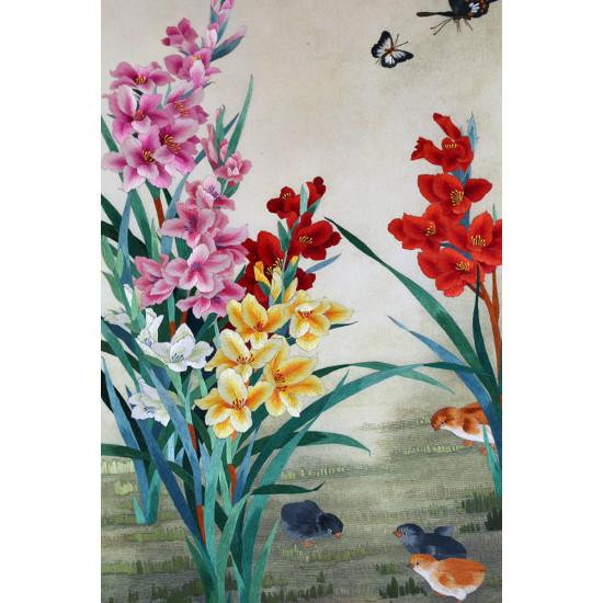 Картина вышитая шелком В разгар лета ручной работы
