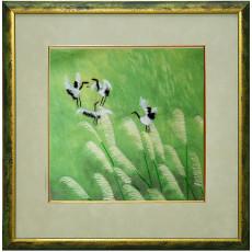 картина вышивка ручная шелковая Четыре журавля в роще